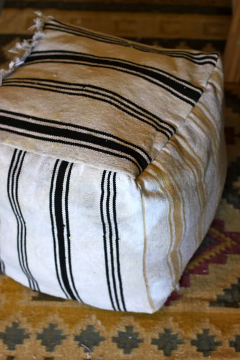 Recycled Rug Ottoman with Linen/Fabric Storage | Pretty Prudent