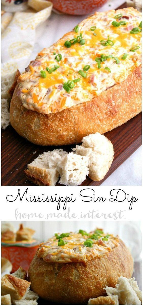 This decadent Mississippi Sin dip is an easy appetizer made with cheese and ham mixed together and baked inside a loaf of French bread until it is ooey gooey. It's an awesome football party food idea and it's perfect for March Madness. Make this easy hot dip for all of your parties! #partyfood #gamedayfood #gameday #cheese #dip #ham #homemadeinterest #appetizer via @hmiblog #footballpartyfood This decadent Mississippi Sin dip is an easy appetizer made with cheese and ham mixed together and baked #footballfood