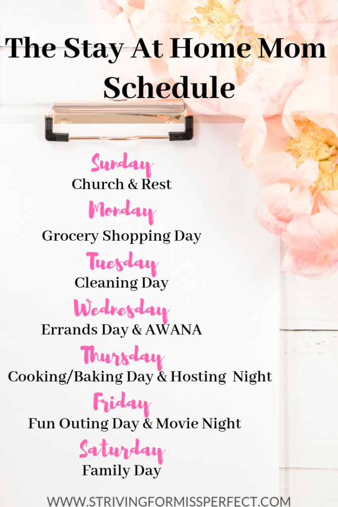 Stay at home mom weekly schedule #sahm #momschedule #weeklyschedule #simplifiedlife