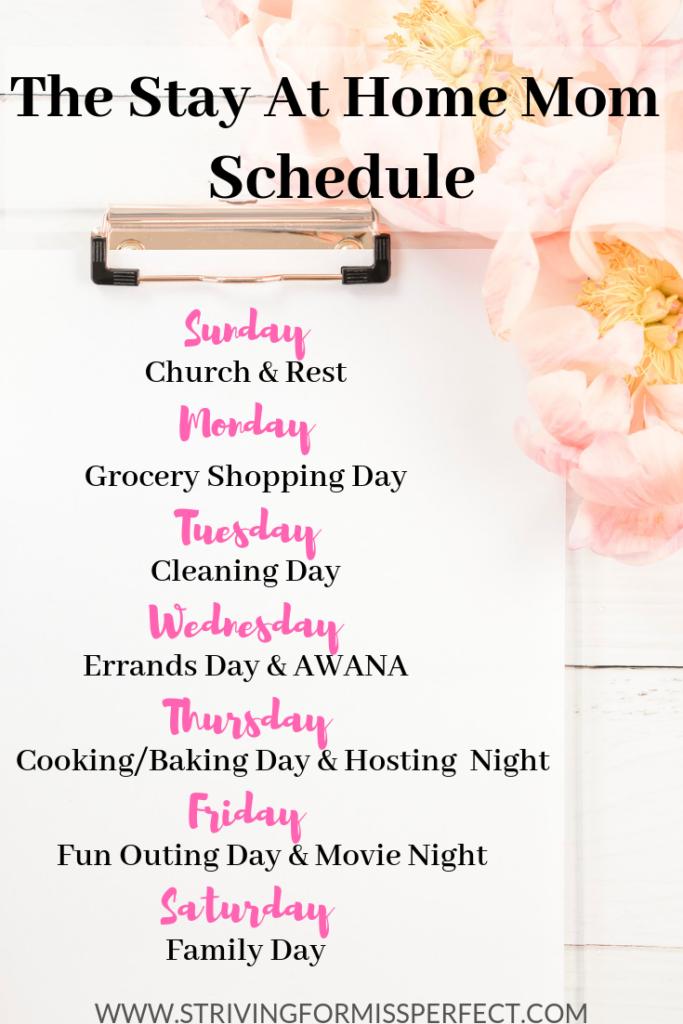 Stay at home mom weekly schedule #sahm #momschedule #weeklyschedule #simplifiedlife