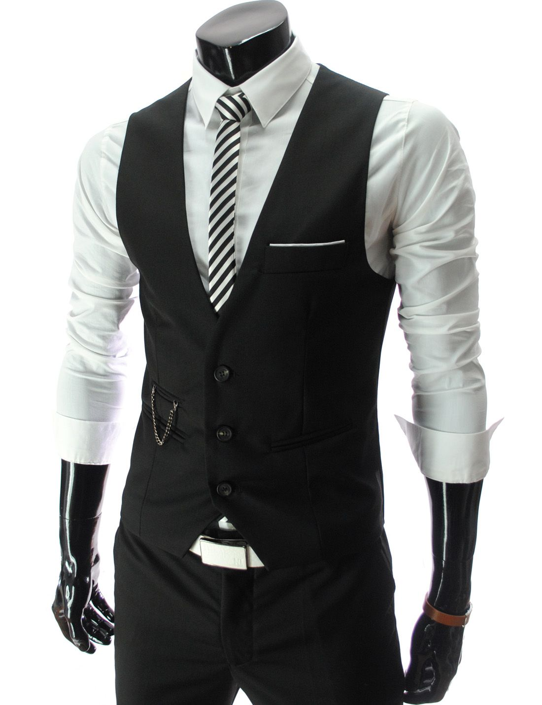 Slim Fit Three Button Vest In Black Larry Just Got This And It Looks So Good On Him With Or Without His Suit Mens Suit Vest Mens Outfits Business Suit Vest [ 1430 x 1100 Pixel ]