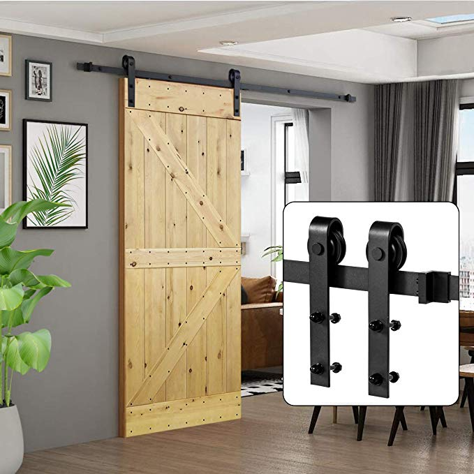 Amazon Com U Max 6 6 Ft Sliding Barn Wood Door Basic Sliding Track Hardware Kit Basic J Hom Sliding Door Hardware Barn Door Kit Sliding Barn Door Hardware