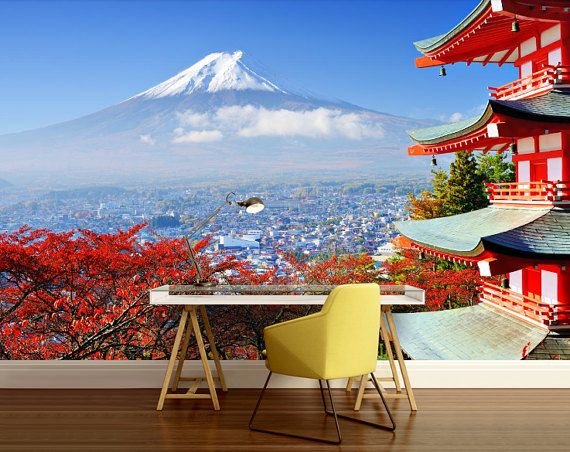 City 3d Mural Japan Wall Mural Asia Wall Mural Japan Tourist Mount Fuji Japan Japan Travel