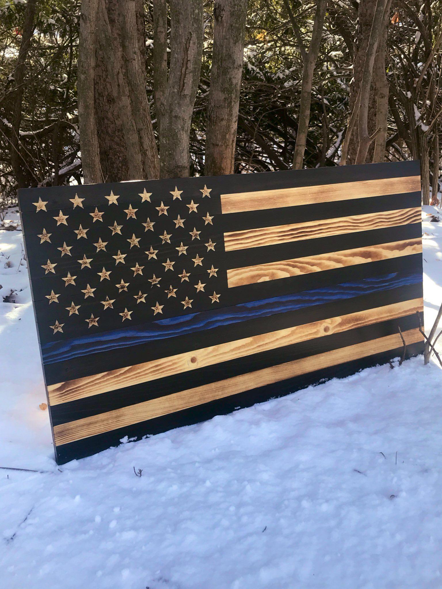 Thin Blue Line Flag American Flag Wood Thin Blue Line
