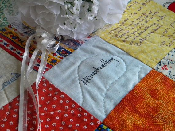 Wedding guest book quilt Patchwork Quilt Queen Size match your colors 93 X 93 made to order wedding gift