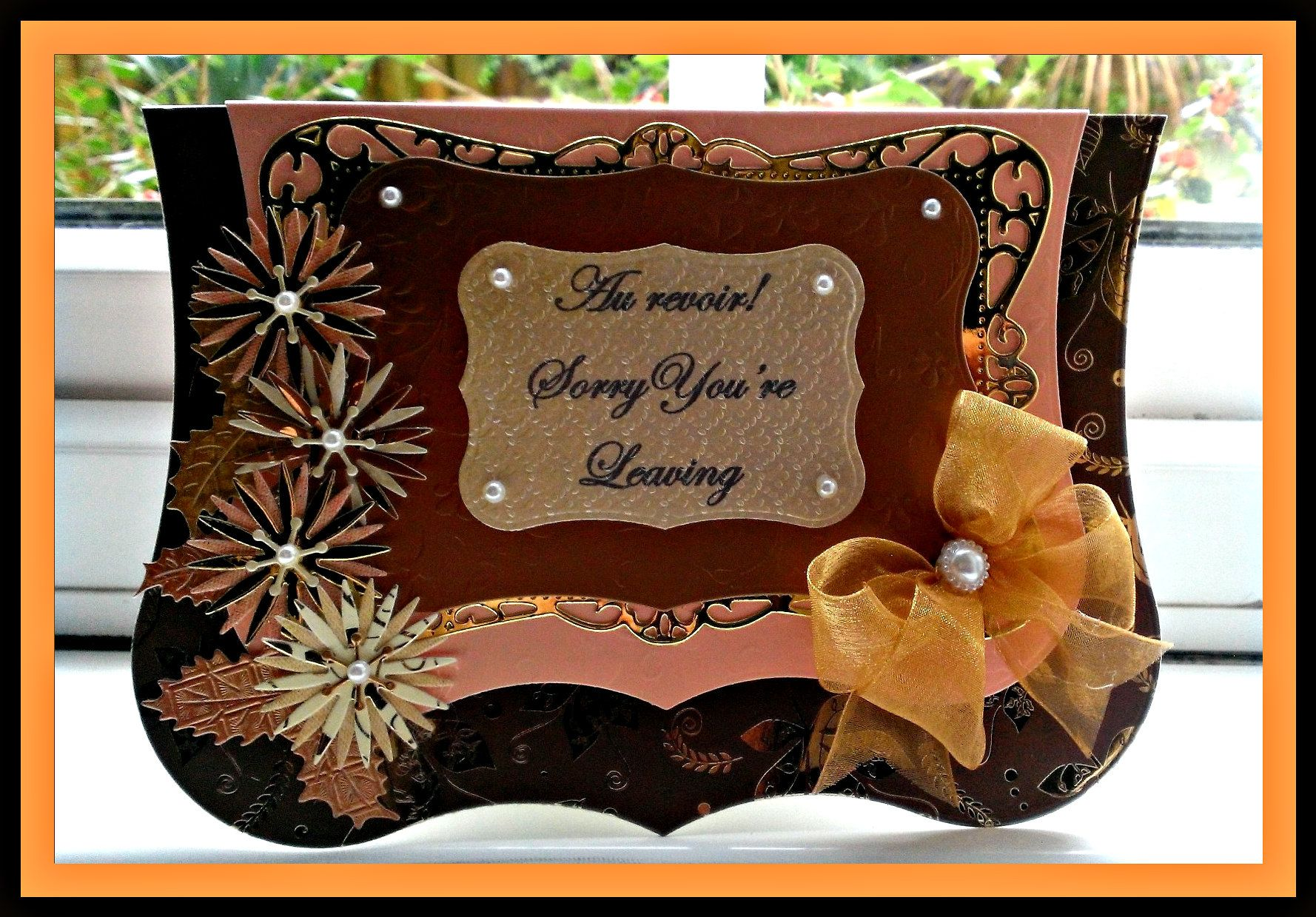 Leaving card using A4 Jus Cutz main dies, Tattered Lace flowers & Britannia Leaves