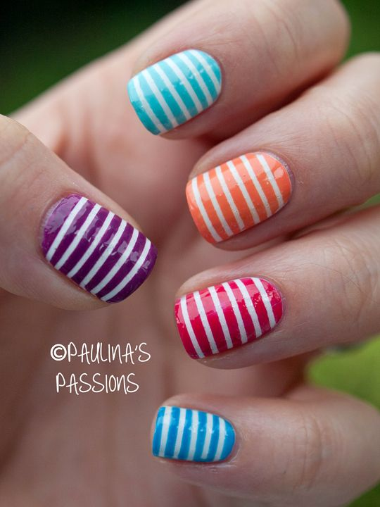 Striped nails! really like the colors! - Striped Nails! Really Like The Colors! Cool Nail Designs