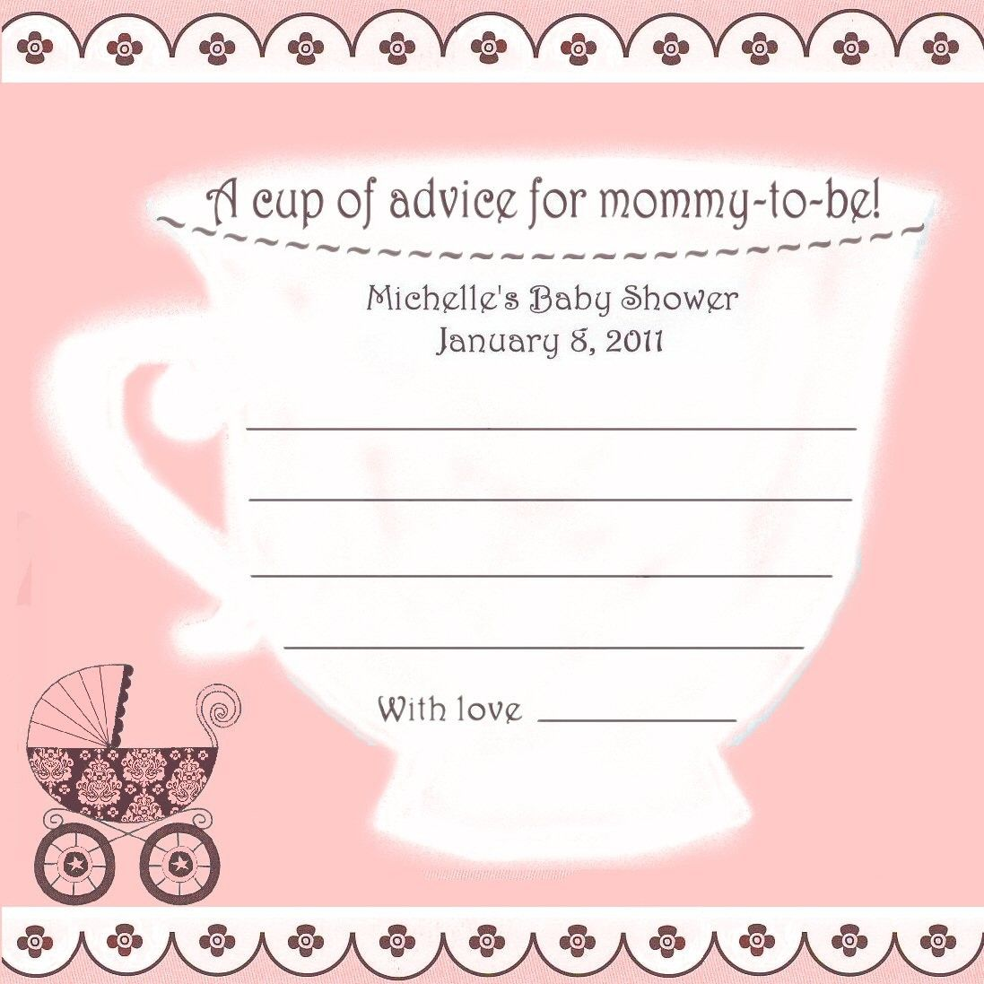 Baby Shower Teacup Advice Cards For Baby Girl 12 PERSONALIZED Tea Party.  $9.00, Via