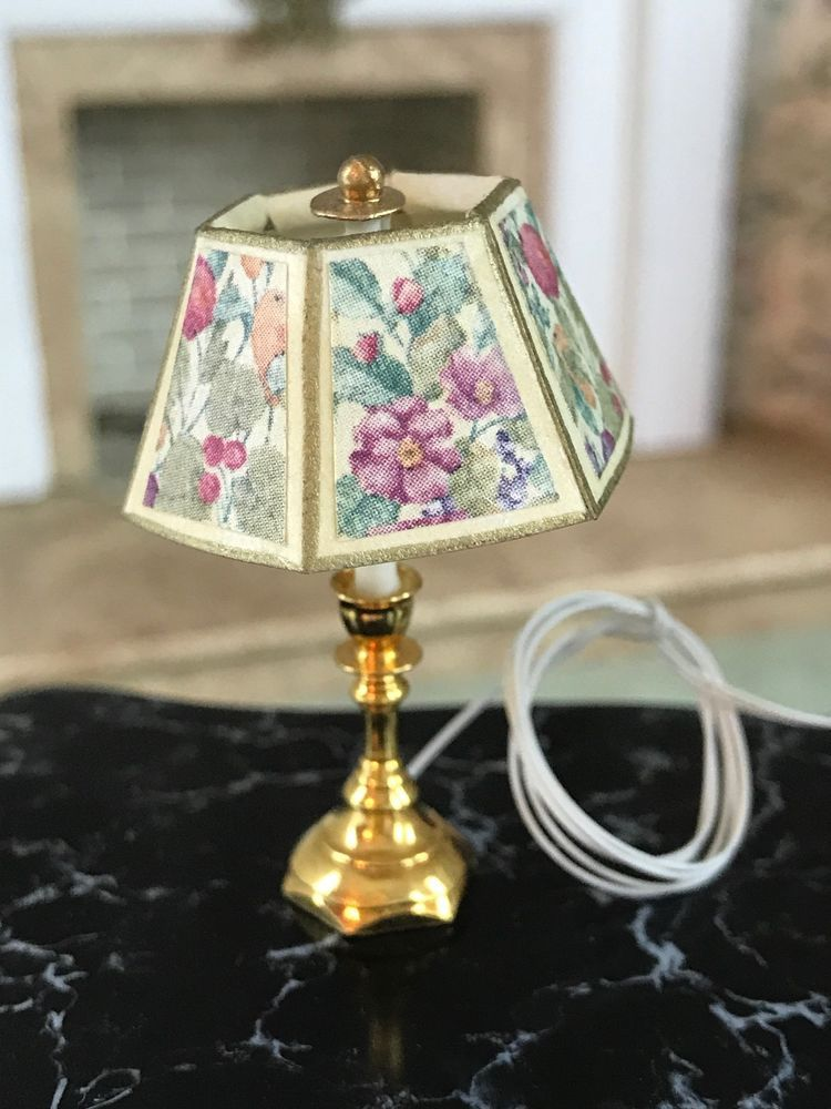 Dollhouse Miniature 1 12 Brass Table Lamp Decor Electrified Floral