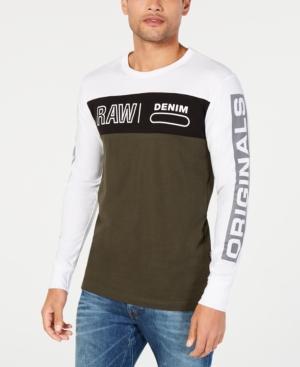 0dcffa9f5e G-Star Raw Men s Long-Sleeve Colorblocked Logo T-Shirt