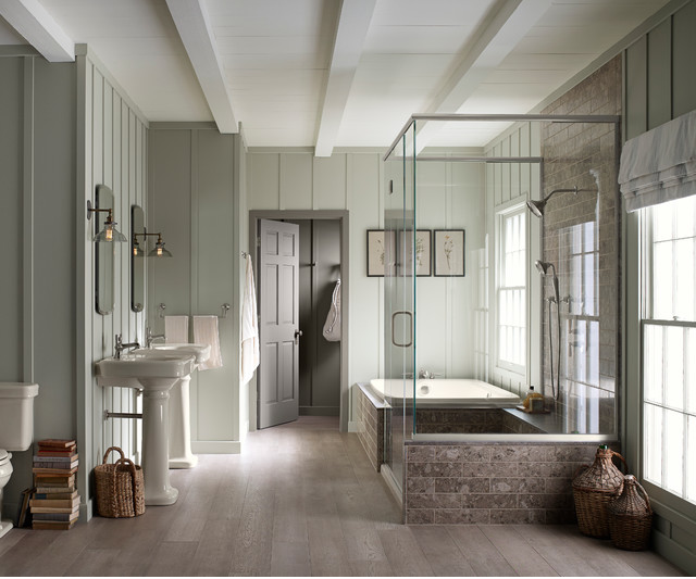 Pale Wood Tile Floors Grey Marble Subway And Bat Board This Would Be The Bathroom In My Dream Beach House I Think Paint Color Is Silver Sage