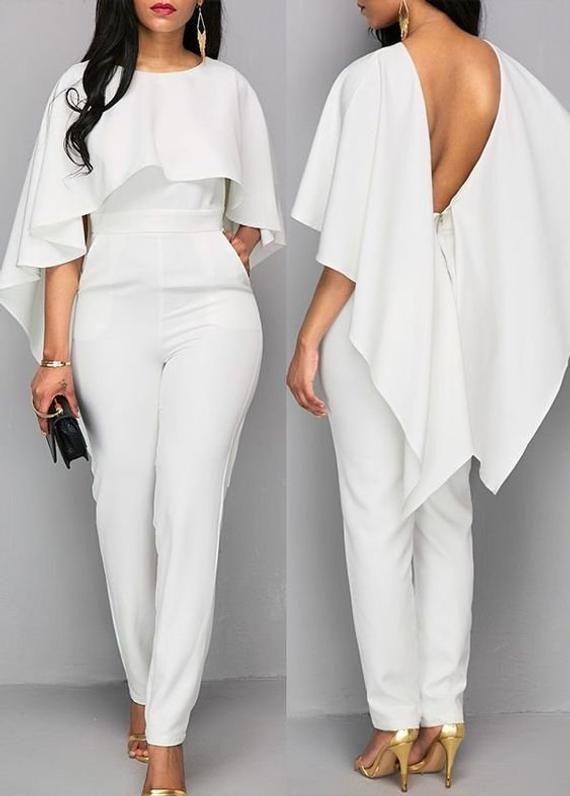 5c6e71ffd492 Jumpsuit with cape   Bridal shower jumpsuit   Wedding jumpsuit   Bridal  jumpsuit   Bridesmaids jumps
