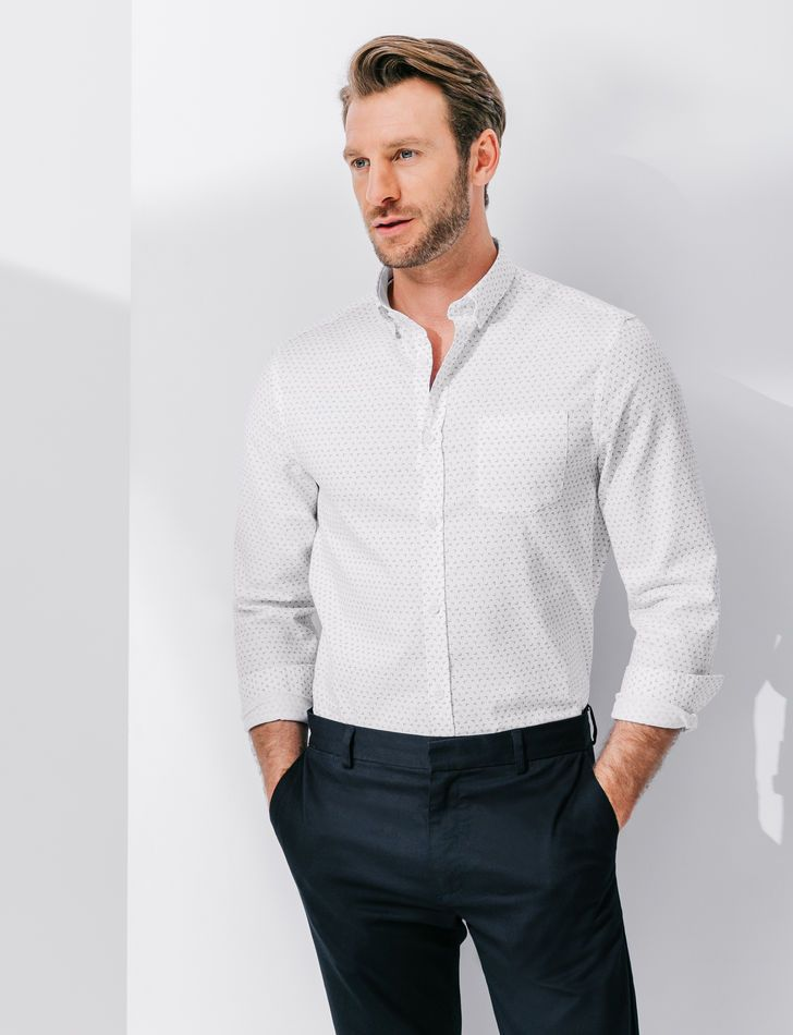 Chemise homme oxford coton imprimé coupe regular - Brice  5d2d1d5be26