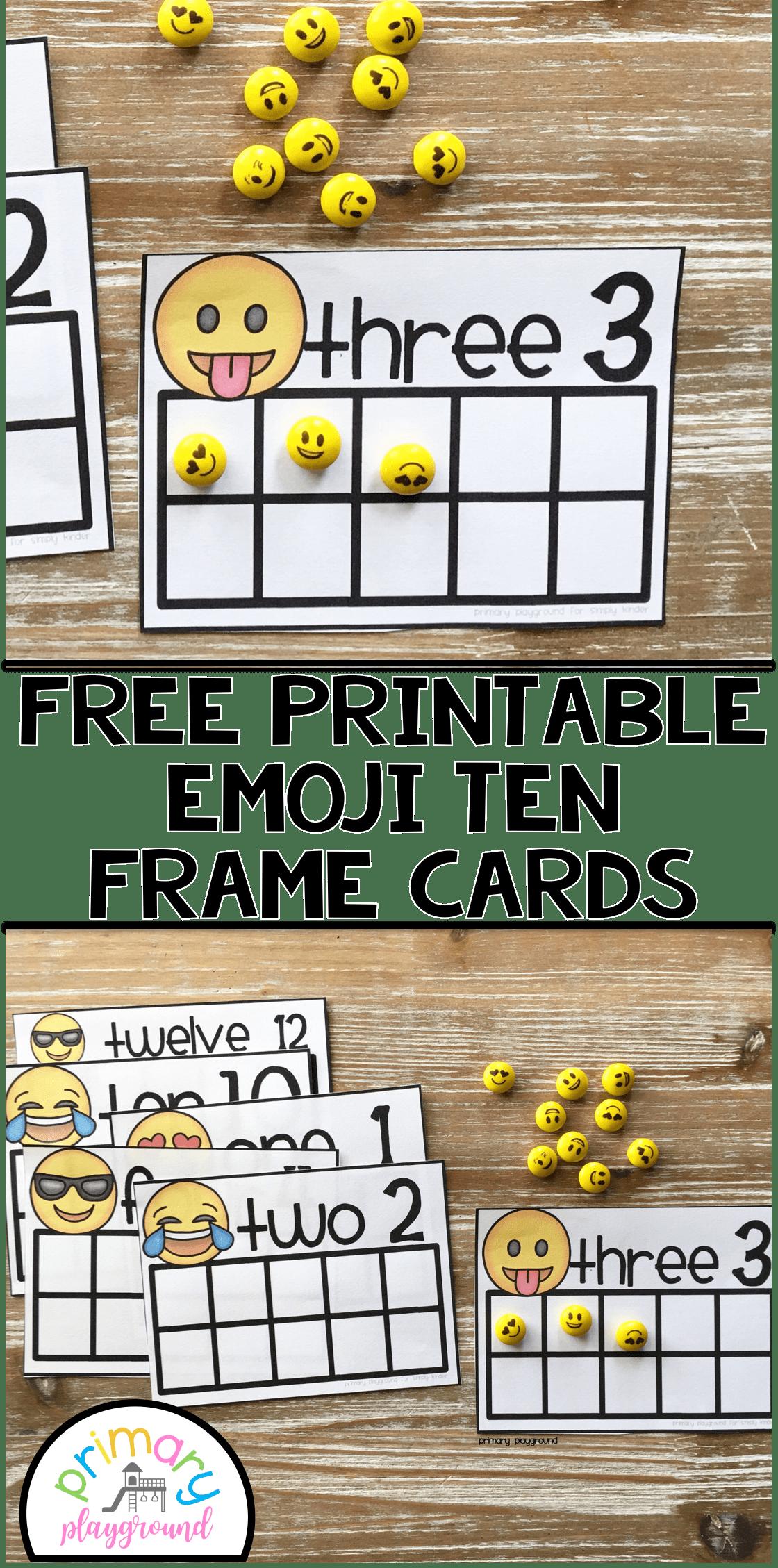 Free Printable Emoji Ten Frame Cards