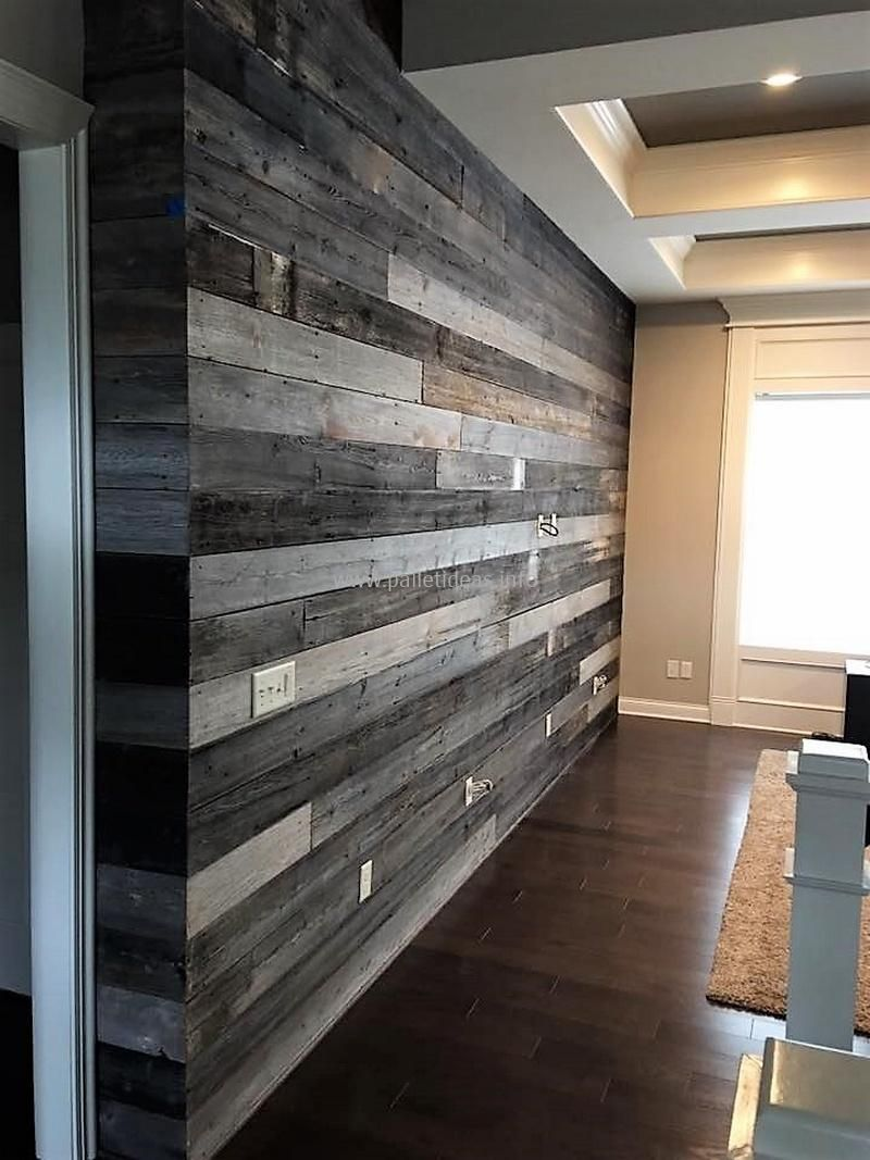 Pallets Reclaimed Wall Covering For Upstairs Landing Area