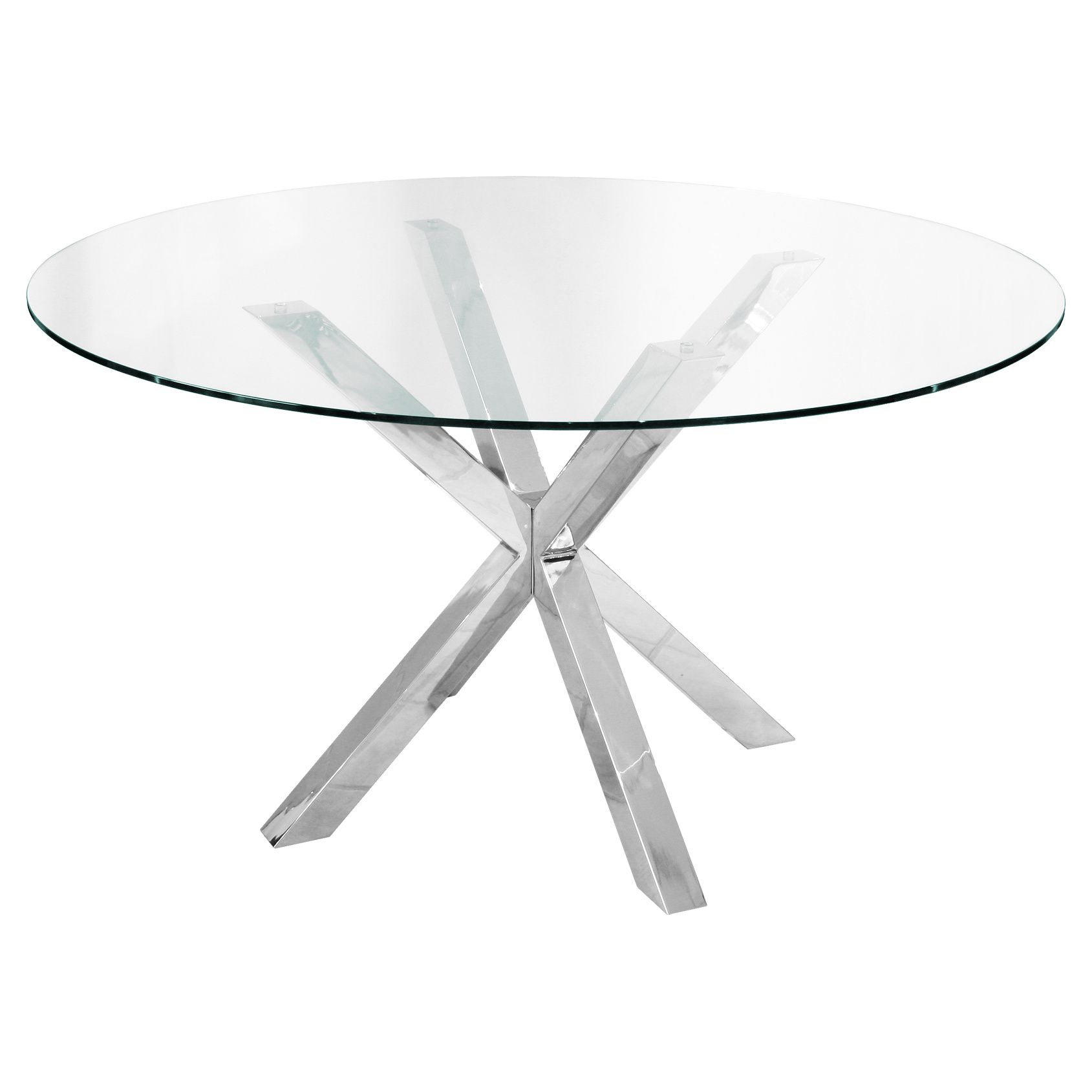 Cross Legged Circular Dining Table Glass top dining table