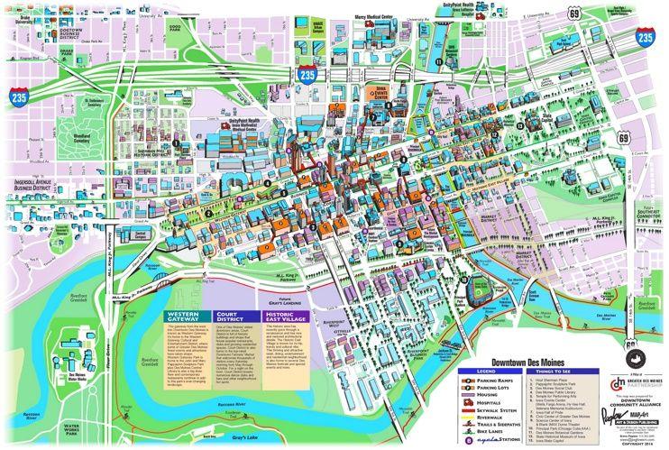 Des Moines tourist attractions map Maps Pinterest Usa cities