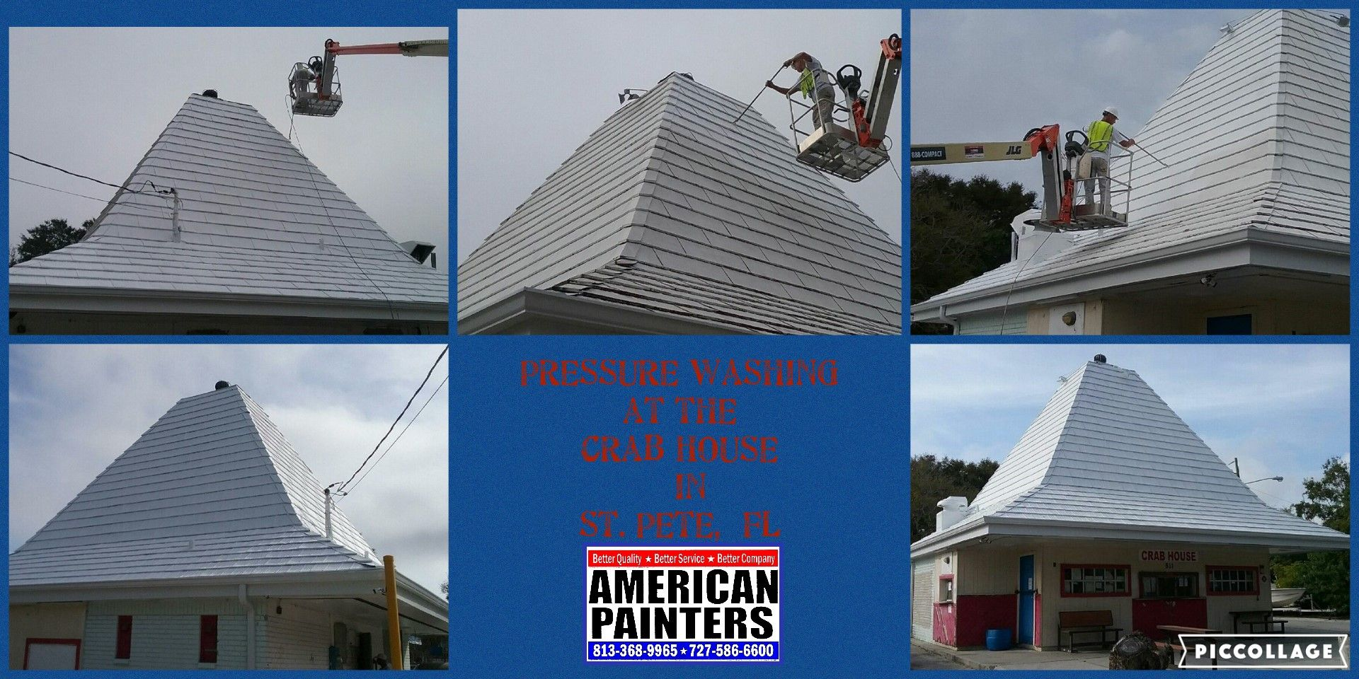 Pressure washing if the roof top at the Crab House in St. Petersburg, FL
