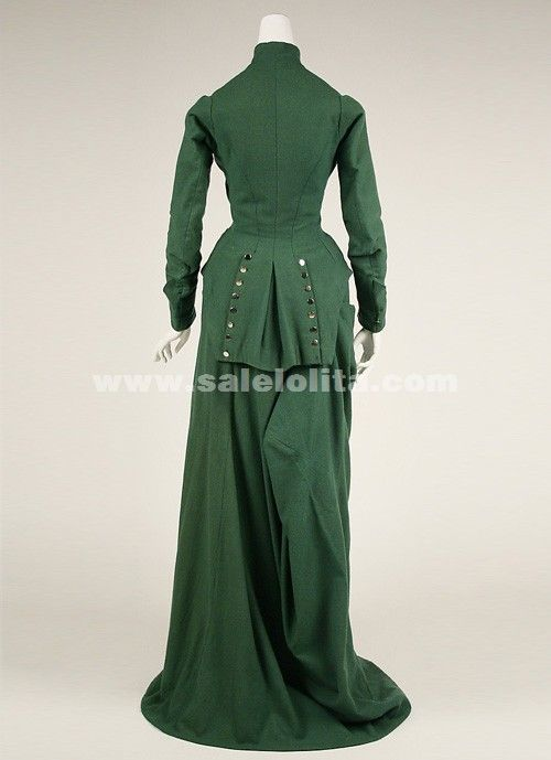 2016 Latest Designs Green Long Sleeves Medieval Renaissance Victorian Bustle Ball Gown