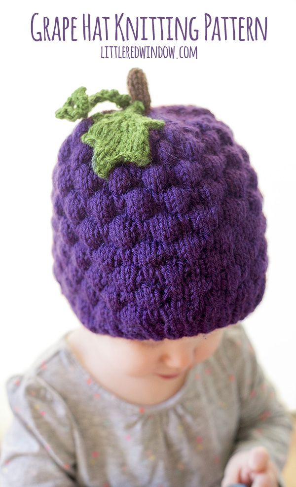 Grape Hat Knitting Pattern | Häkelmützenmuster, Stricken für baby ...