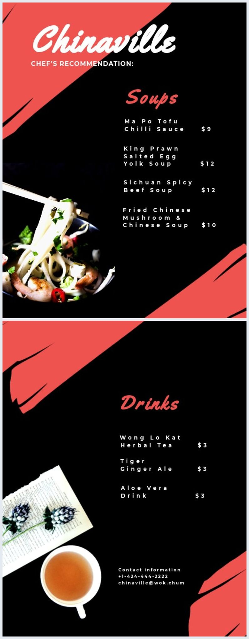This Chinese Menu Template Is Easy Editable And 100 Free The Red And Black Combination Will Suit Any Restau Chinese Menu Menu Template Restaurant Menu Design