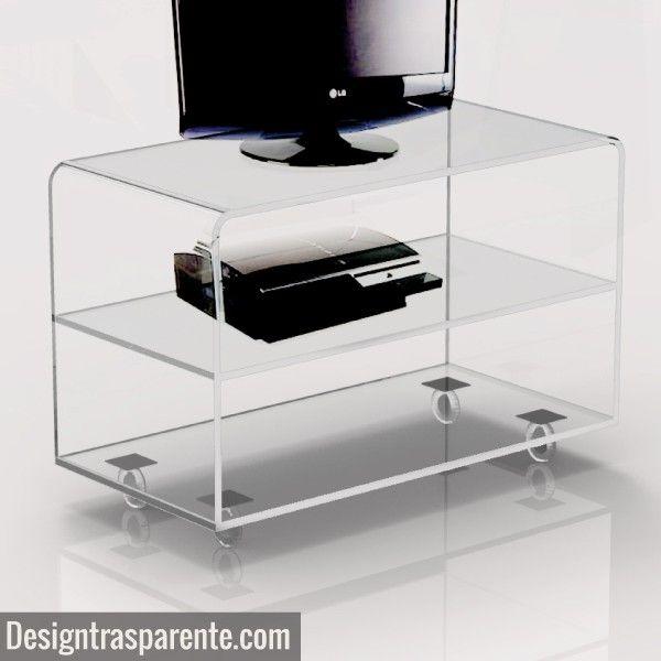 Carrello mobile in plexiglass porta tv trasparente - Porta tv plexiglass ...