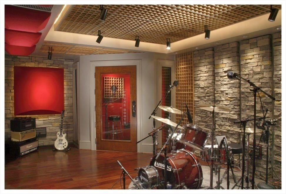Elegant Music Room With Exposed Brick Stone Wall Features Stylish