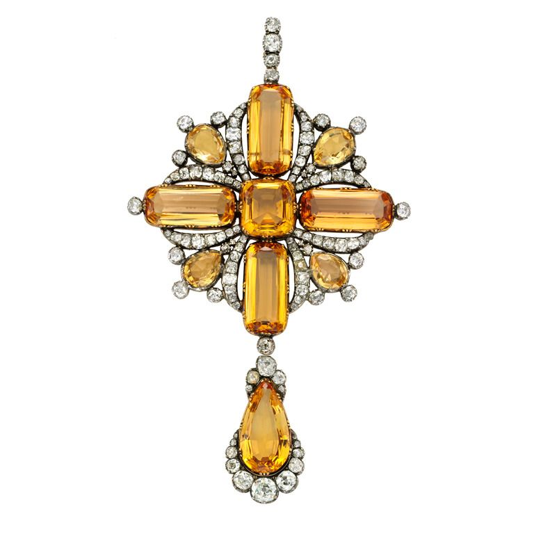 Georgian Imperial Topaz Diamond Pendant Brooch | From a unique collection of vintage brooches at http://www.1stdibs.com/jewelry/brooches/brooches/