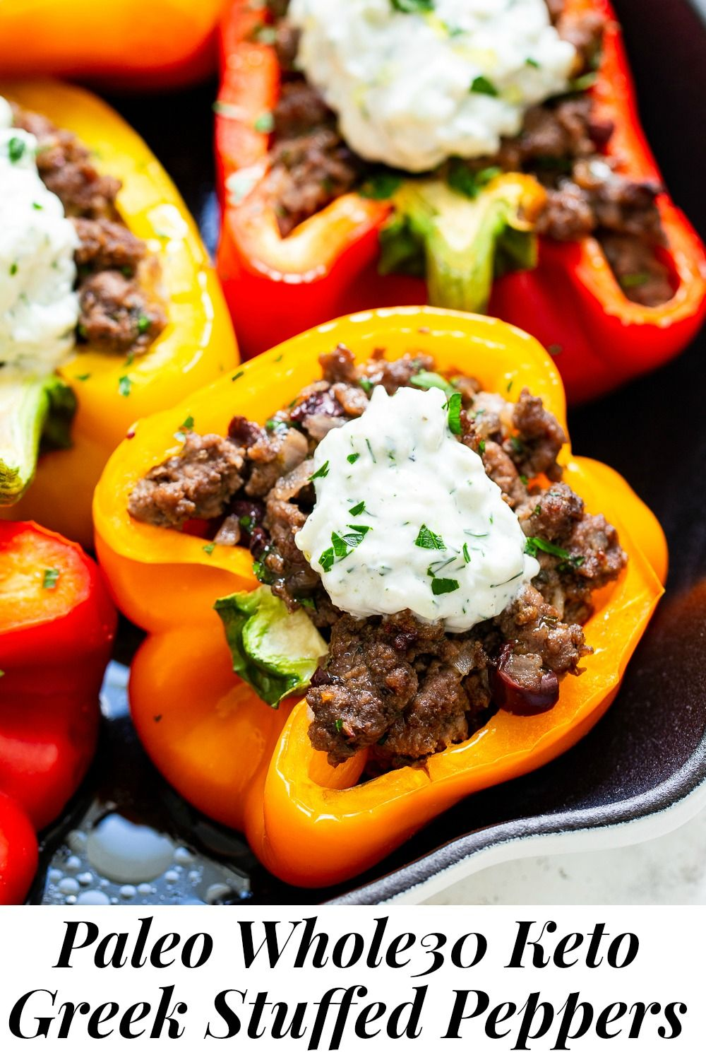 These Flavor Packed Greek Stuffed Peppers Have A Savory Beef Or Lamb Mixture Baked Inside Bell Peppers And Topped With A