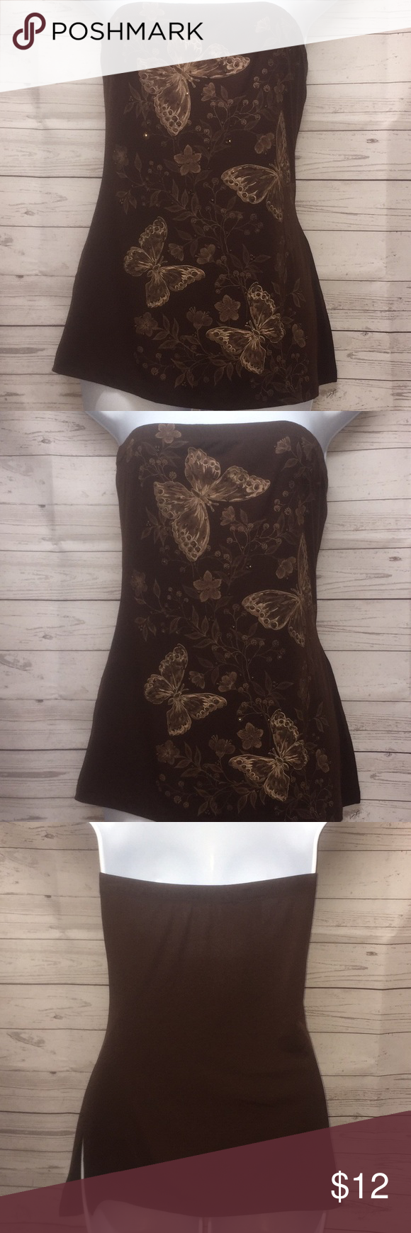 LIPSTICK D'AMORE Brown Butterfly Print Tube Top LIPSTICK D'AMORE Butterfly Print Bandeau Tube Top SIZE: M ( Medium ) COLOR: Brown/Butterfly Print 92% Polyester 8% Spandex  Great used condition! Lipstick D'Amore Tops