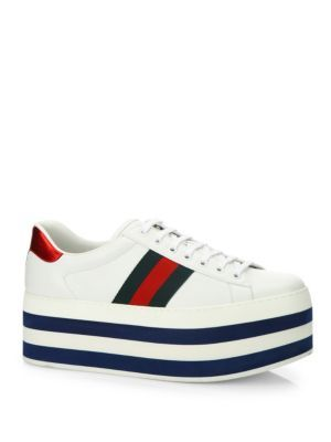 GUCCI New Ace Leather Platform Sneakers. #gucci #shoes #sneakers