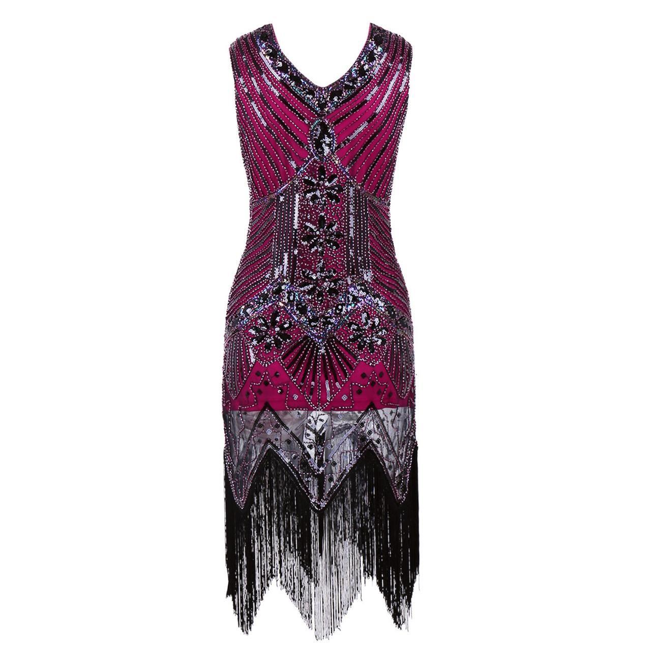 Sleeveless v neck sequin short tassels evening dress women