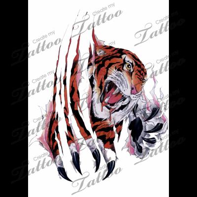 Marketplace Tattoo Tiger Tearing Through Skin 2741 Createmytattoo Com Custom Tattoo Design Cat Tattoo Designs Tiger Tattoo Design