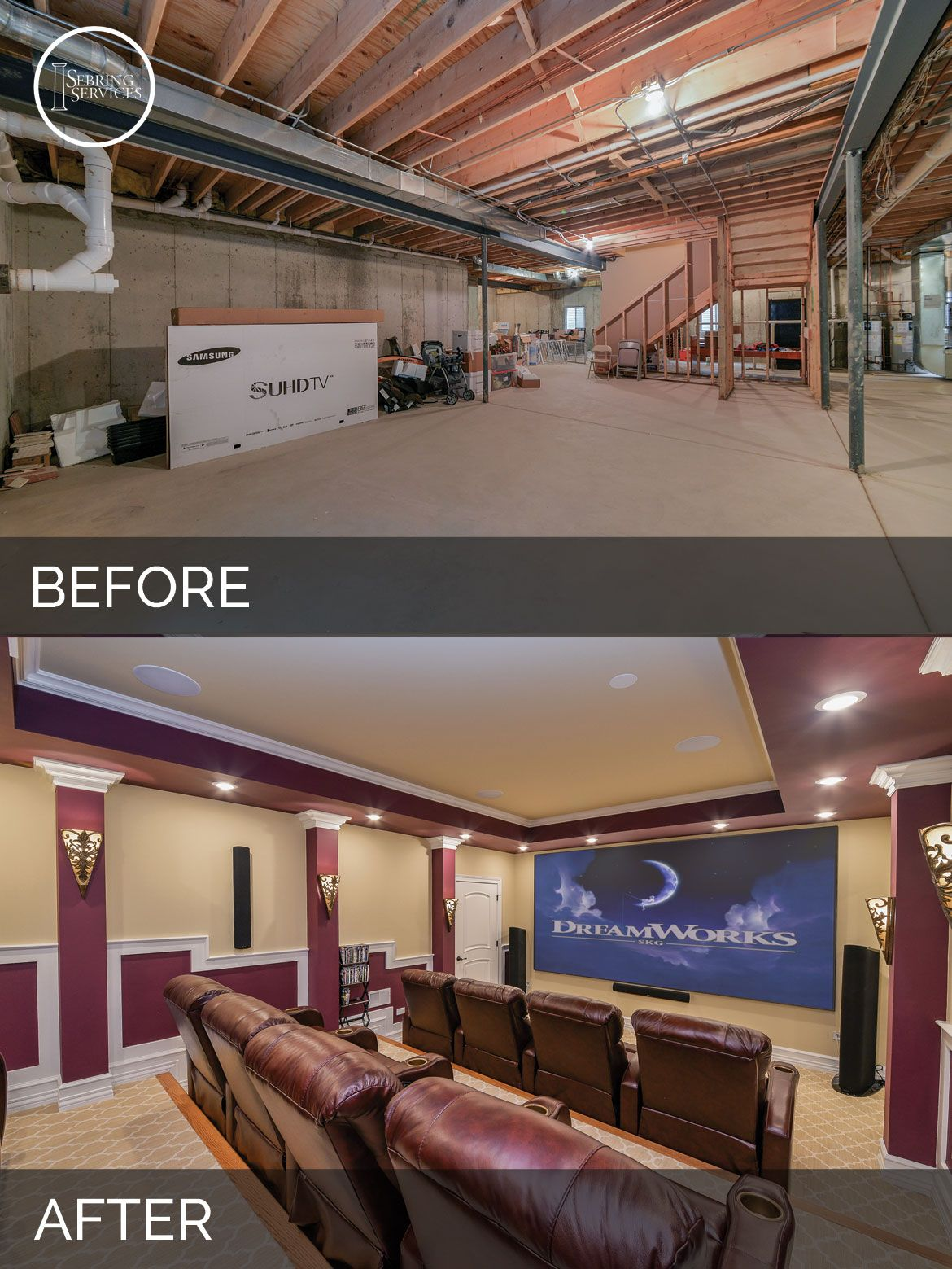 Captivating Naperville Basement Before U0026 After Pictures   Sebring Services