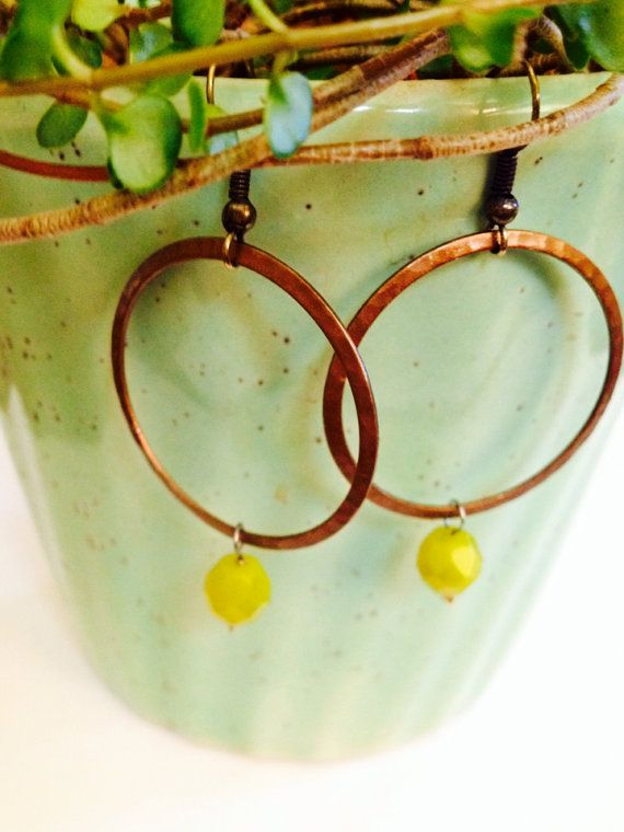 Recycled Guitar String Earrings- Brass Hammered Hoop with Citron Bead on Etsy, $22.00