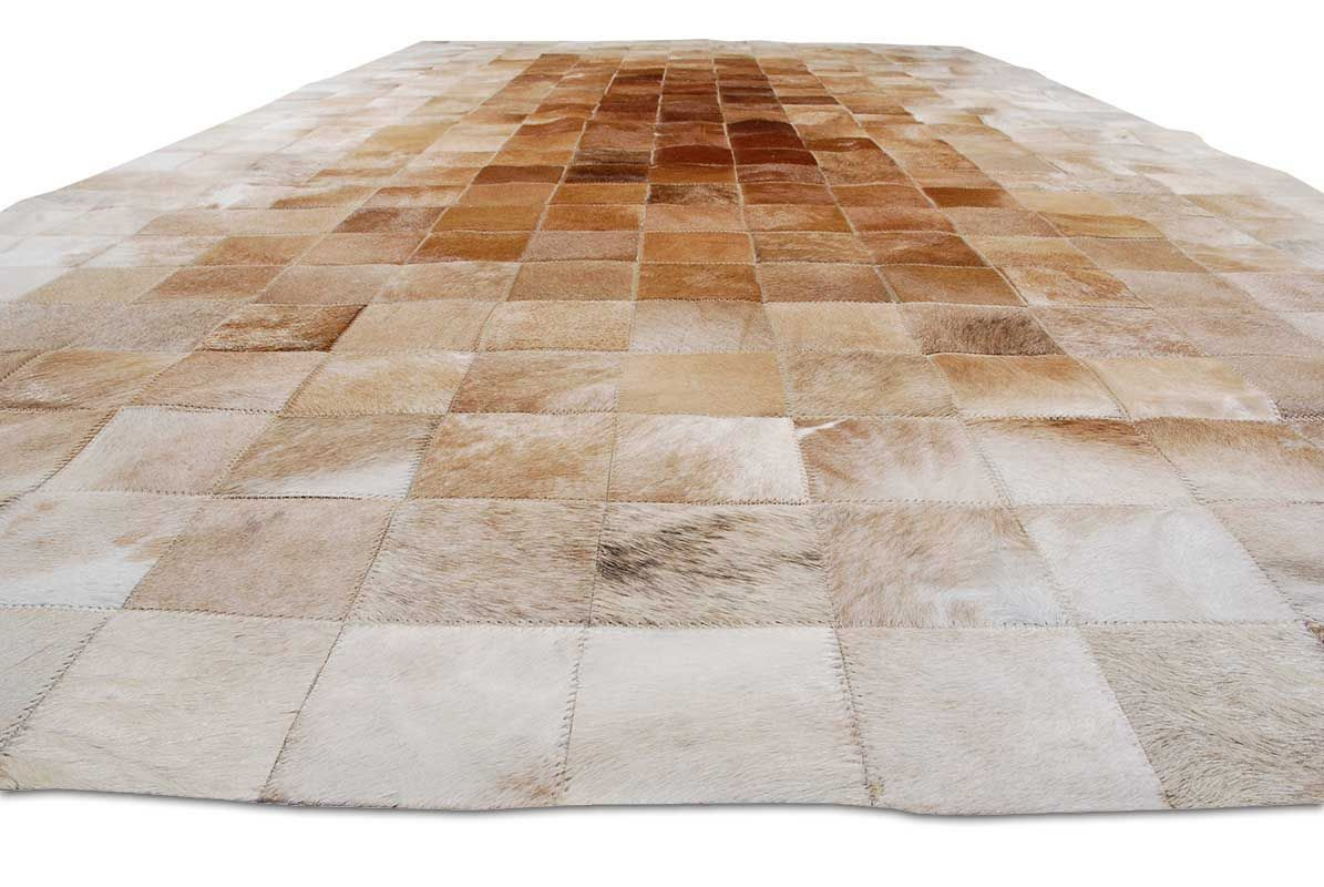 Patchwork Cowhide Rug In 4x4 Squares In Light Beige To