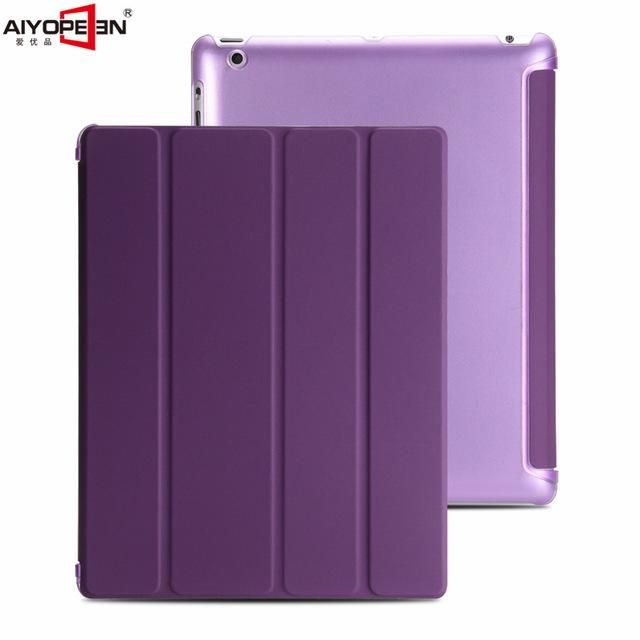 For iPad 2 3 4 case aiyopeen 4-fold pu leather magnet auto sleep with hard pc matte translucent back cover 2 in 1 +gift