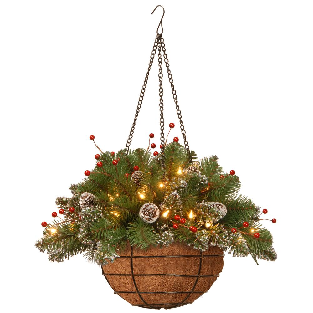 National Tree Company 20 In Glittery Mountain Spruce Hanging Basket With Battery Operated Warm White Led Lights Glm1 300 20h B1 The Home Depot Christmas Hanging Baskets Hanging Christmas Tree Faux Flowers