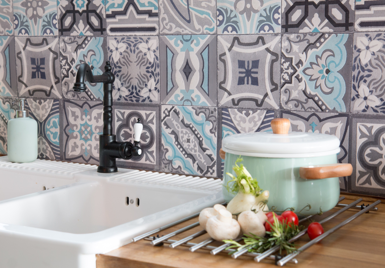 67 5cm X 4m D C Wall Moroccan Tile Simenta Grey 3d Splashback Tile