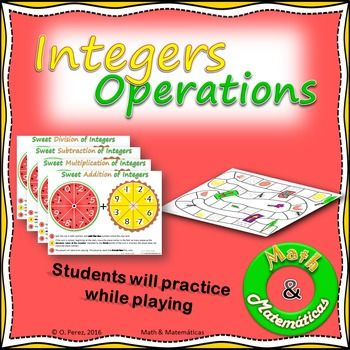 Integers Operations Spinners-practice add, subtract, multi