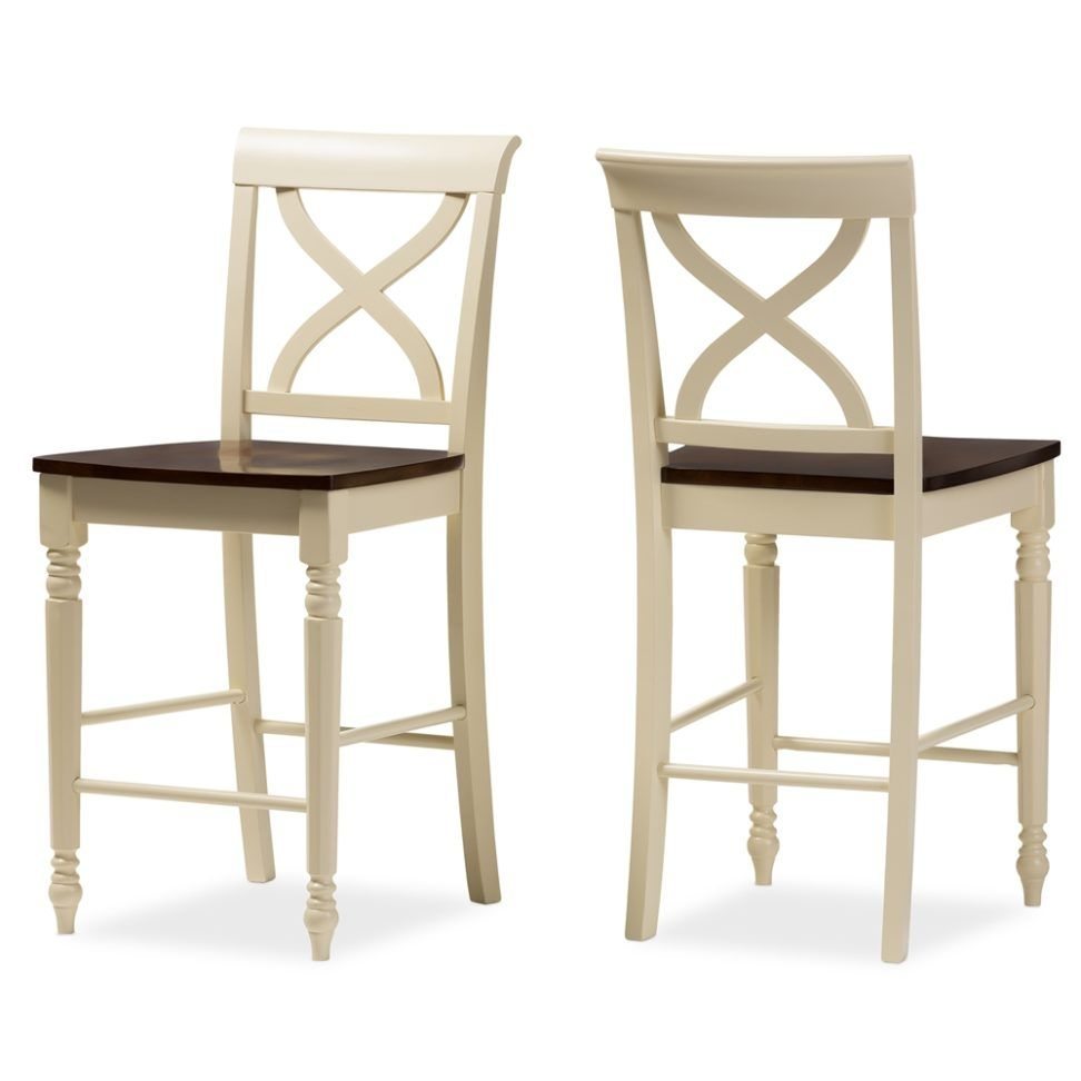 Furniture Modern French Style Counter Stool Idea Featuring Full Back Counter Stool With Square Seating And Brow And Cream Counter Stool Idea French Style Stool