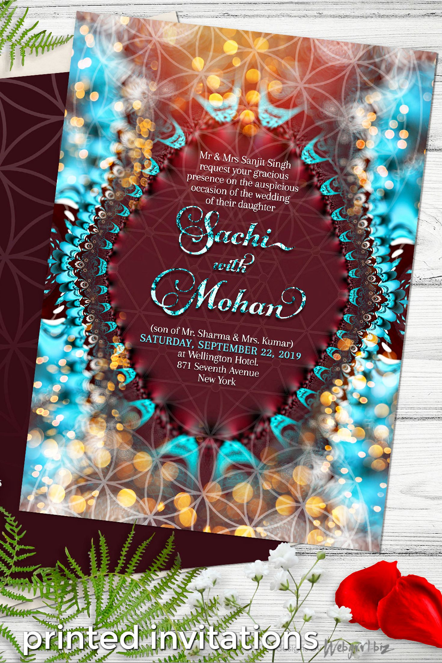 Eastern Wedding Invitation | Flower of Life ૐ Sacred Geometry ...