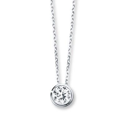 Diamond Solitaire Necklace 1 2 Carat Bezel Set 14k White Gold Jared One Carat Diamond Diamond Necklace Round Diamond Solitaire Necklace