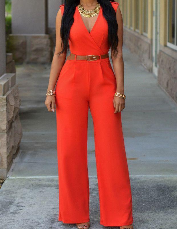 Ladies Orange Plunge V Neck Belted Sleeveless Sexy Jumpsuit