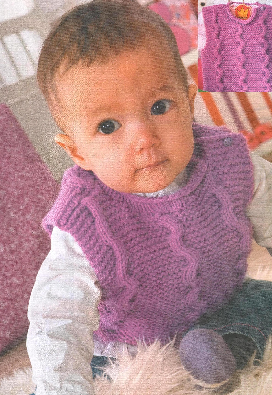 жилет с застежкой на плече для новорожденного вязаный спицами