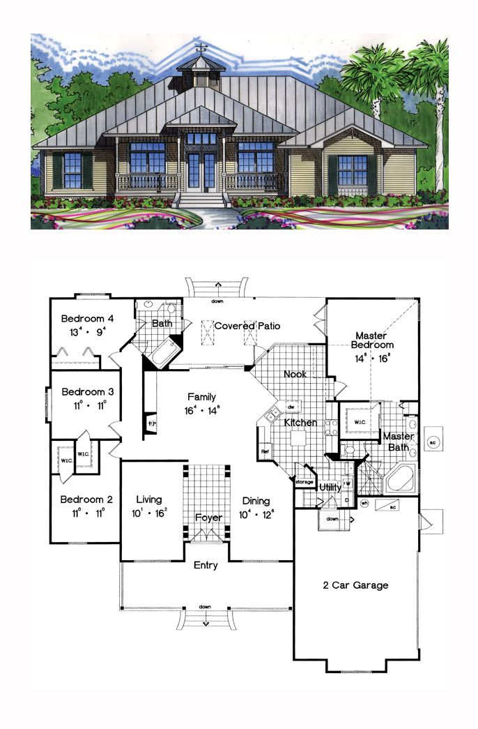 Traditional Style House Plan 63240 With 4 Bed 2 Bath 2 Car Garage Beach House Plans Florida House Plans Best House Plans
