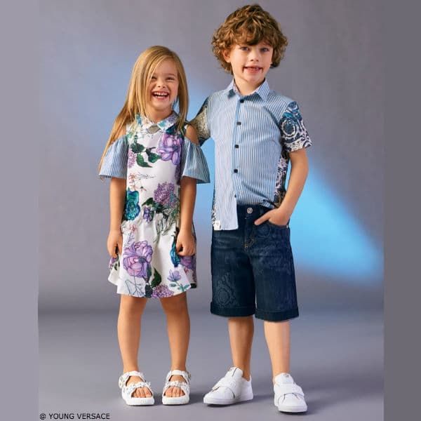 cad26241f7551 Love this YOUNG VERSACE Girls White Floral Print Silk Dress   Boys Boys  Blue Stripe Baroque