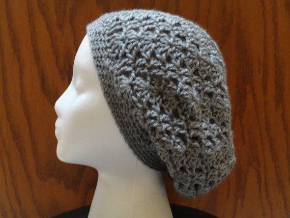 Crochet Slouchy Beanie LACY Hat Acrylic Heather Gray 22 Colors Women ...