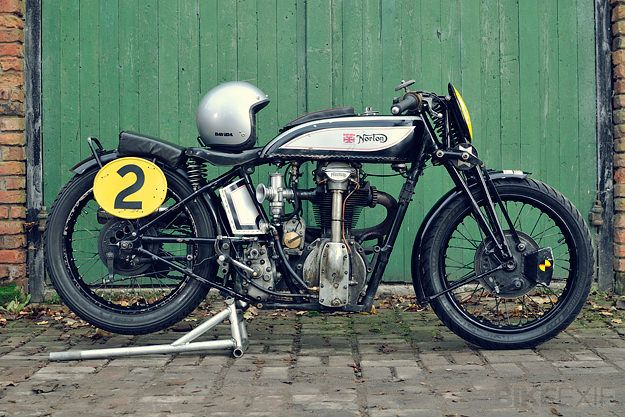 At 84 years old, this Norton CS1 is the oldest motorcycle still being raced in the UK on a regular basis. It's piloted by the Liverpool-based rider Ian Bain, with support from the helmet manufacturer Davida.