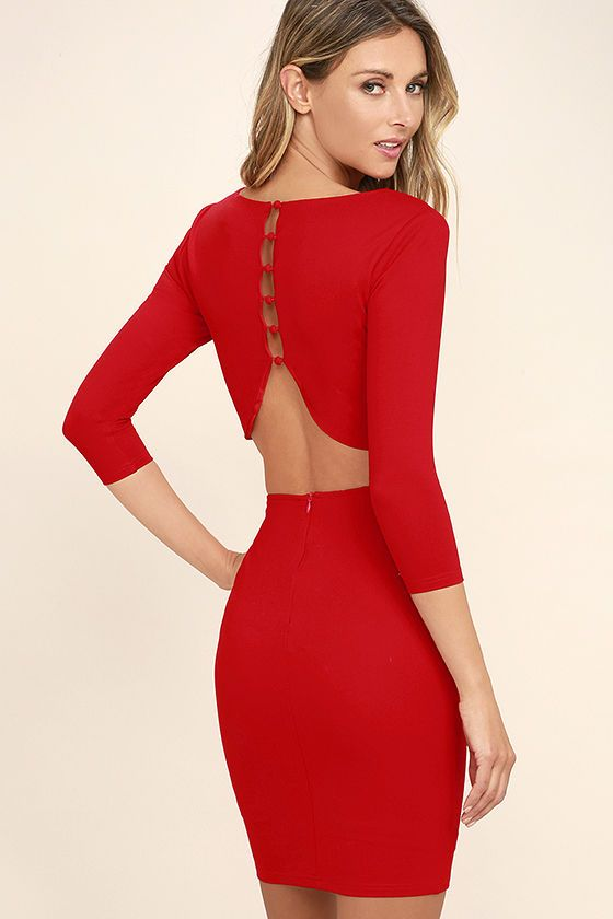 Create an alluring silhouette in the Shape of You Red Bodycon Dress! Medium-weight knit shapes a rounded neckline and princess seamed bodice. Covered button placket leads into a sexy open back. Fitted, three-quarter sleeves and bodycon skirt.